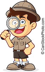 Boy Scout with Magnifying Glass - Vector clipart picture of...