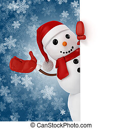 3d happy snowman with santa hat behind a blank board on...