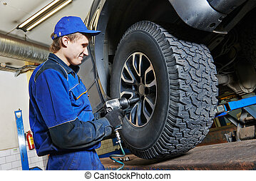 auto mechanic screwing car wheel by wrench - car mechanic...