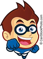 Flying superhero - Vector clipart picture of a flying...