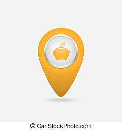 Vector location yellow icon with money sign piggy bank...