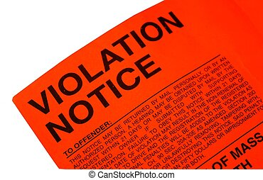 Violation parking ticket left on a motor vehicle