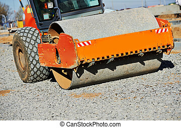 heavy compactor roller at road work