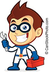 Superhero holding tools - Vector clipart picture of a...
