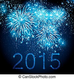 fajerwerki, editable, tło, odpoczynek, rok, 2015, nowy,...