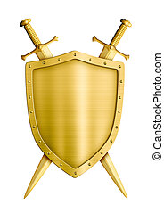 gold coat of arms medieval knight shield and swords isolated...