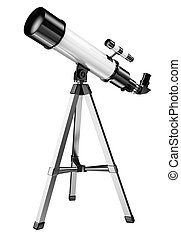 3D Telescope - 3D telescope on a tripod Isolated white...