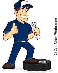 Auto Mechanic - Clipart picture of an auto mechanic cartoon...