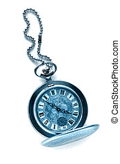 Pocket vintage watch with chain in toning