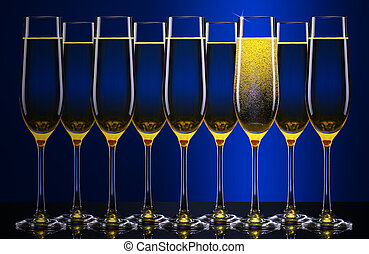 luxo, vidro, de, champanhe,