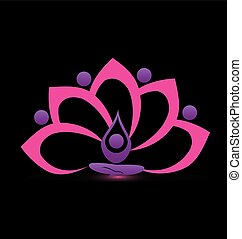 Lotus pink flower symbol vector logo design