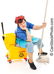 Cleaning Lady - Worn Out - Tired unhappy cleaning lady...