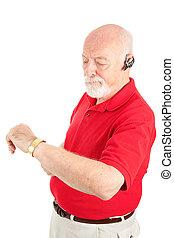 Cellphone Senior - Running Late - Senior man talking on his...