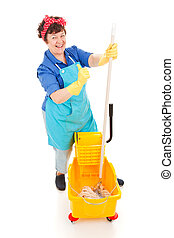 Confident Cleaning Lady - Happy, confident cleaning lady...