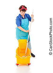 Sad Cleaning Lady - Sad depressed cleaning lady wringing out...