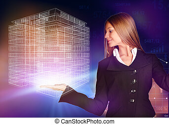 Business woman holding a wireframe house on the hand -...
