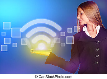 business woman holding an icon wi-fi with a bright glow. -...