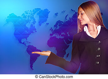 business woman looking at the empty hand on world map...
