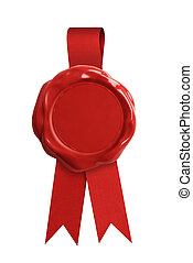 Red wax seal stamp or signet with ribbon isolated - Red wax...