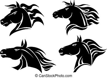 Horse mascots - Horse heads for mascot and tattoo design