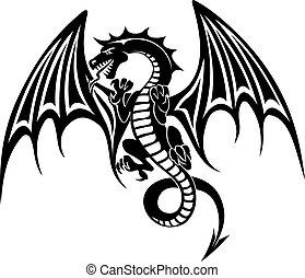 Black dragon tattoo isolated on white background. Vector...