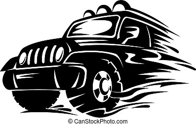 Crossover car for extreme sports design. Vector illustration
