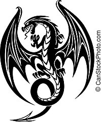 Black dragon - Black danger dragon isolated on white...