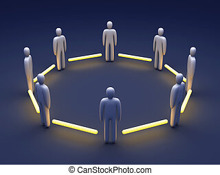 Connected Team - 3D rendered Illustration Power of Teamwork...