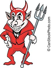 Red devil - Smiling red devil in cartoon style. Vector...