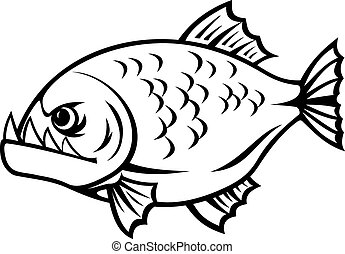 Angry piranha fish in cartoon style isolated on white...