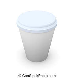 Disposable coffee cup - 3D Illustration. Isolated on white....