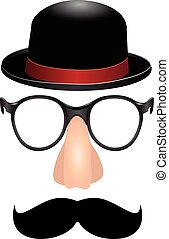 Set for a party mustache, nose and glasses male cylinder....
