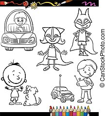 children set cartoon coloring page - Coloring Book or Page...