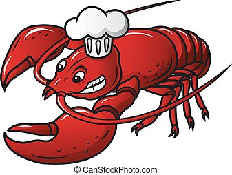 Red prawn in chef hat in cartoon style Vector illustration