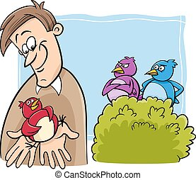 bird in the hand cartoon - Cartoon Humor Concept...