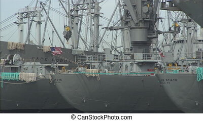 AlamedaNaval_MSships.mov - WS Military ships sitting in...