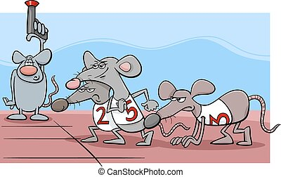 rat race cartoon illustration - Cartoon Humor Concept...