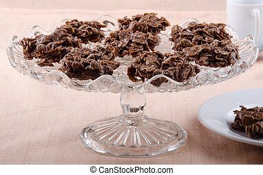 cornflakes cluster on a cake stand - cornflakes cluster on a...