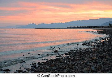 Sunset on the Gulf of Aqaba - Gentle colors of the sunset on...