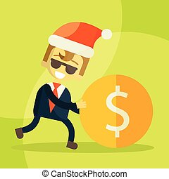 cheerful businessman rolls coin, Christmas