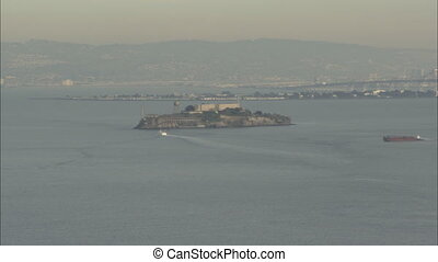 Alcatraz Golden Gate with San Francisco skyline - Long shot...