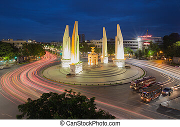 Democracy monument after sunset