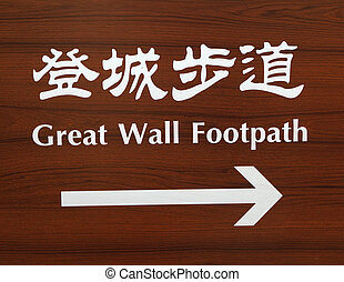 Great Wall Footpath - signpost on the route in chinese and...