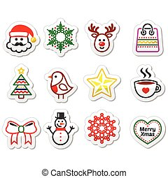 Christmas, winter icons set - Santa - Xmas vector set with...