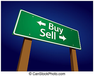 Buy, Sell Green Road Sign Vector Illustration