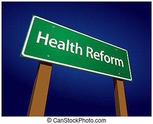 Health Reform Green Road Sign Vector Illustration on a...
