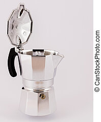 Coffeepot - Italian coffee maker isolated on white...
