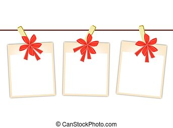 Blank Photos with Red Ribbon Hanging on Clothesline