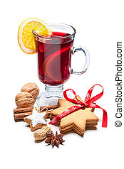 Glass of hot red mulled wine - Hot red mulled wine isolated...