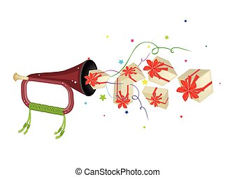 A Musical Bugle Blowing Many Gift Boxes - An Illustration...